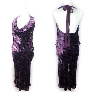 DVF Vintage Purple Velvet Open Tie Back Dress.RARE